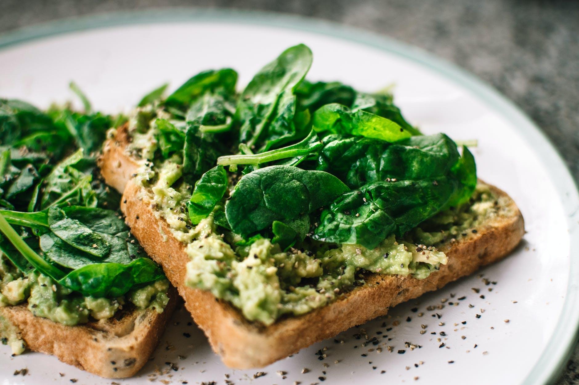 healthy avocado spinach toast