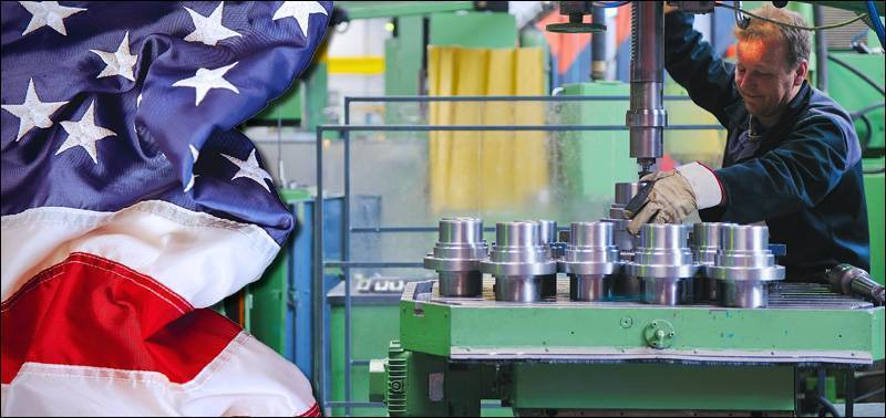 US Factory with Flag