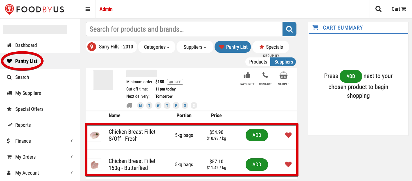 FoodByUs_dashboard_search_save_favourite_items_to_pantry_list