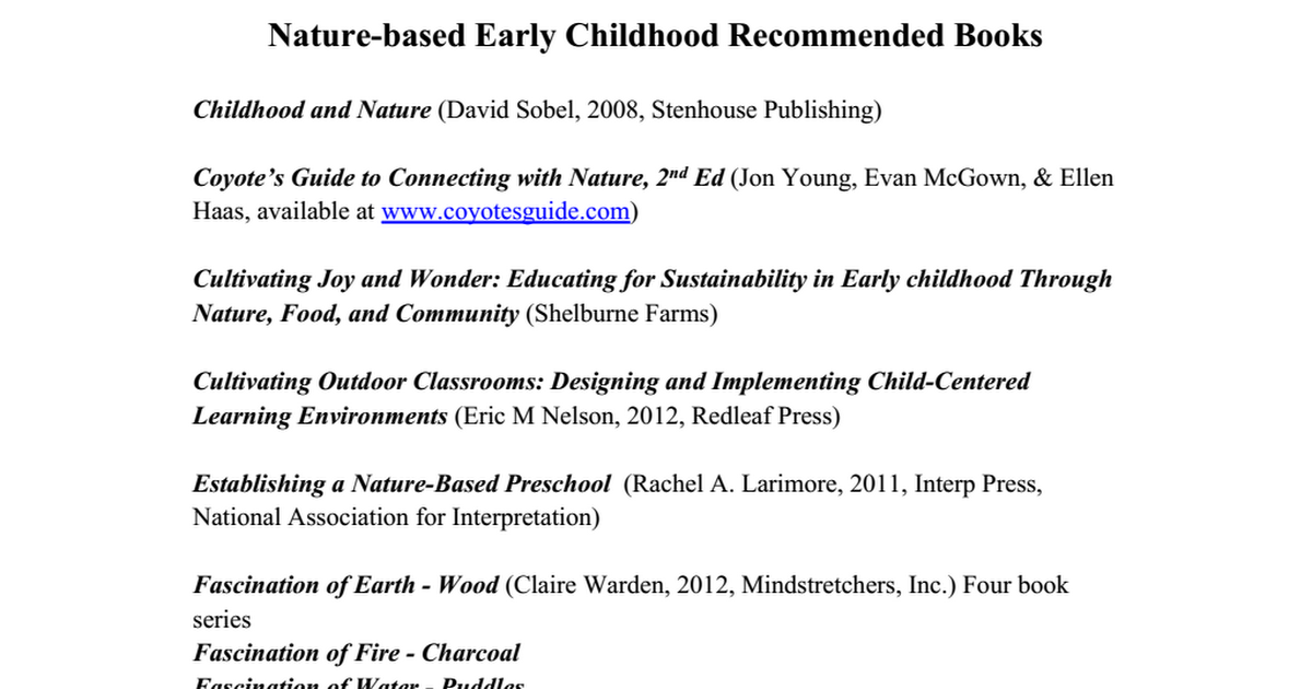 education for sustainability within early childhood