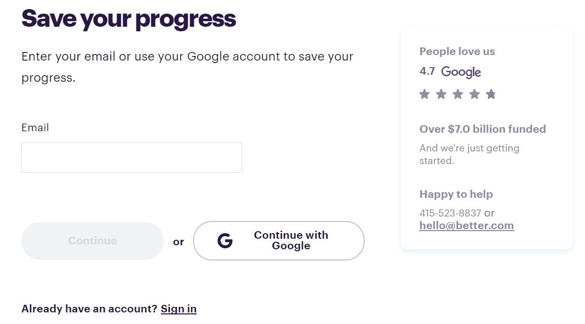 email to save progress