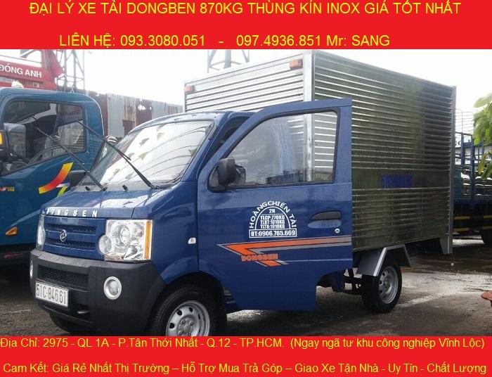 xe tải dongben 870kg, thùng mui kín, thùng lửng, giá chỉ 149 triệu, có bán trả góp.