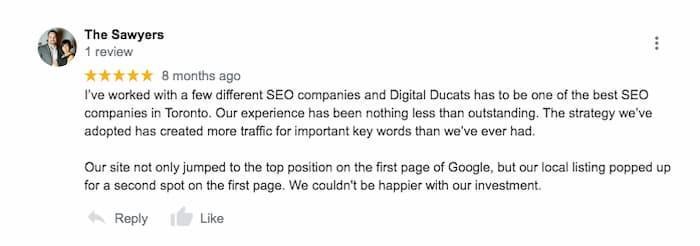 Các bài đánh giá 5 sao của Google là một dấu hiệu cho thấy một công ty SEO tốt