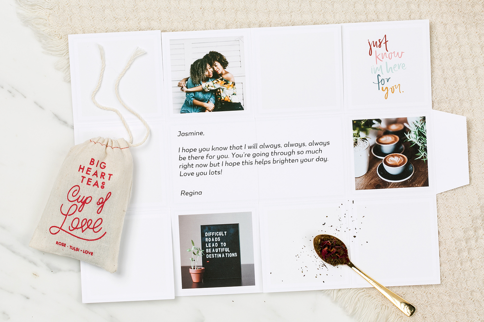 Image of opened Greetabl gift with the Cup of Love Tea.