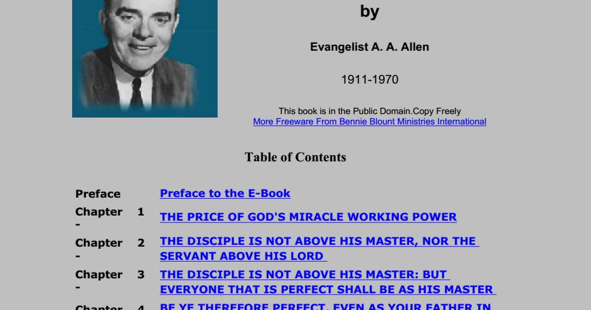 Price Of Gods Miracle Working Power A A Allen Pdf Google Drive