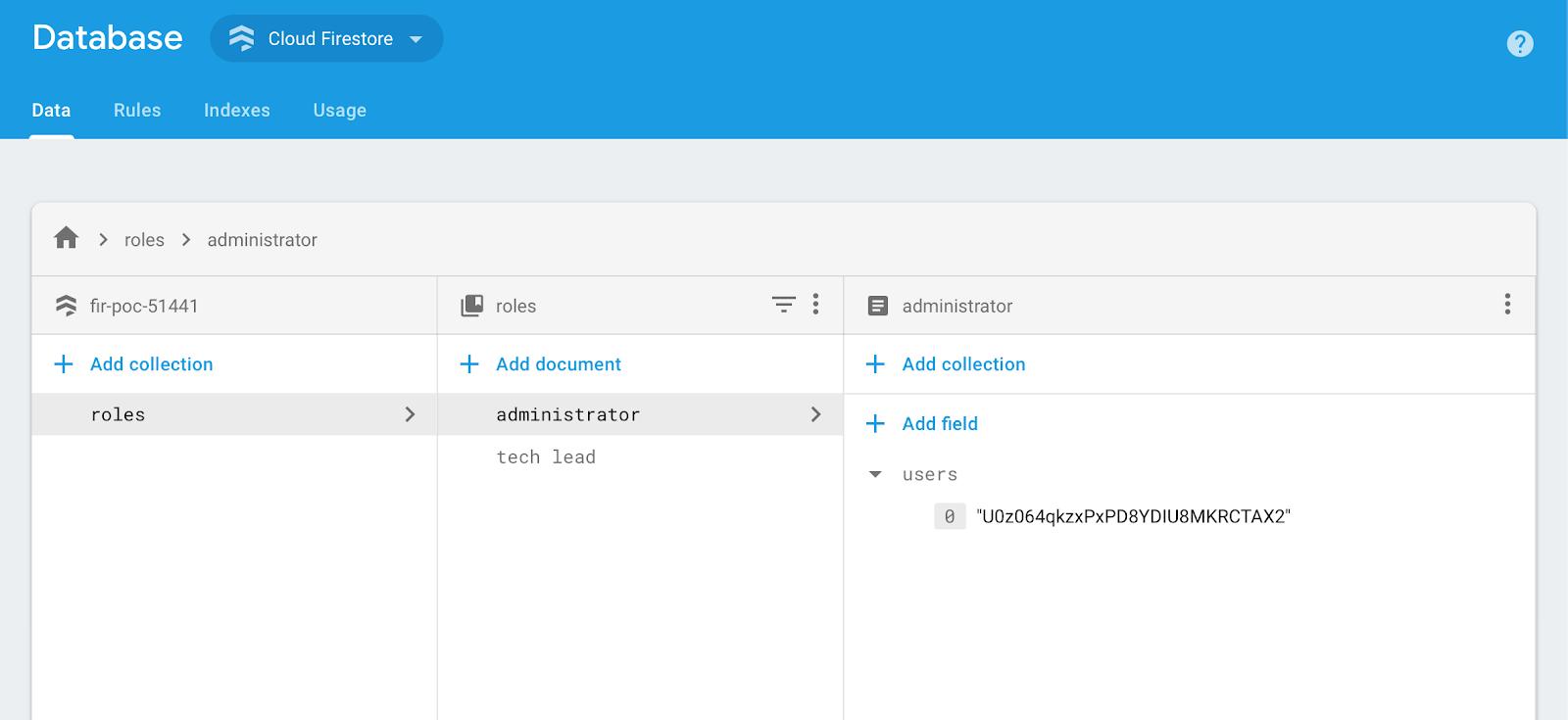 Firebase Cloud Firestore start a collection dialog: database overview