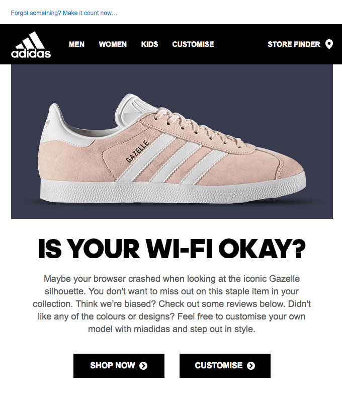 Example of Adidas abandoned cart email.