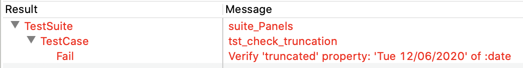 Test result, showing failure of the truncation check.