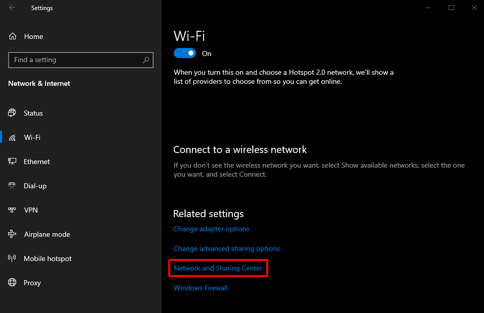 Find Network Security Key on Windows 10. Wi-Fi > Network and Sharing Center. Source: nudesystems.com
