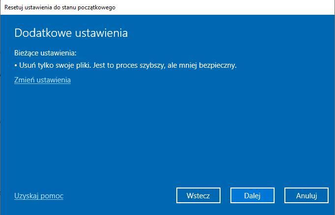 Dodatkowe ustawienia Windows 10
