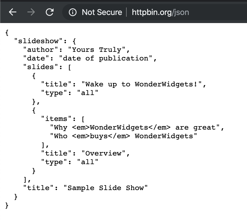 Here's some sample JSON