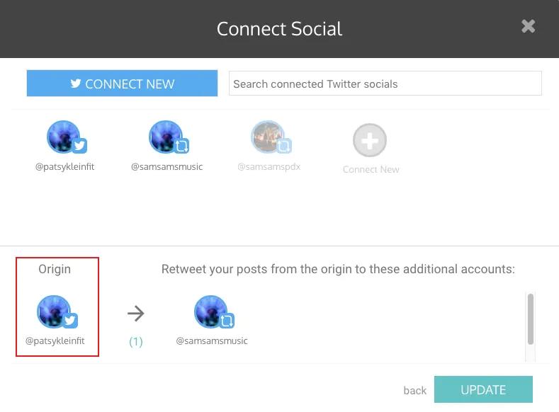 set your origin account - auto retweet tools - TweetJumbo.com- twitter automation bot tool