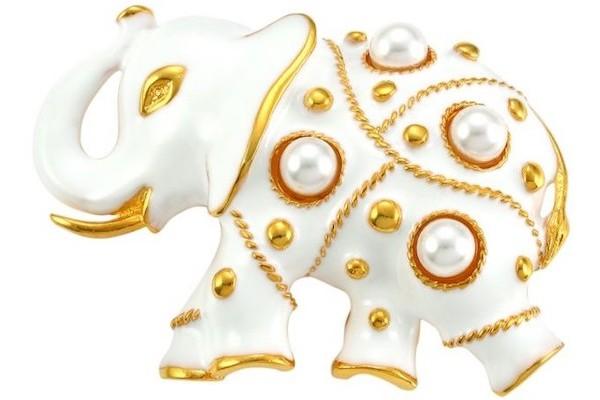 Kenneth Jay Lane Faux Pearl & Enamel Elephant Pin from Saks Fifth Avenue