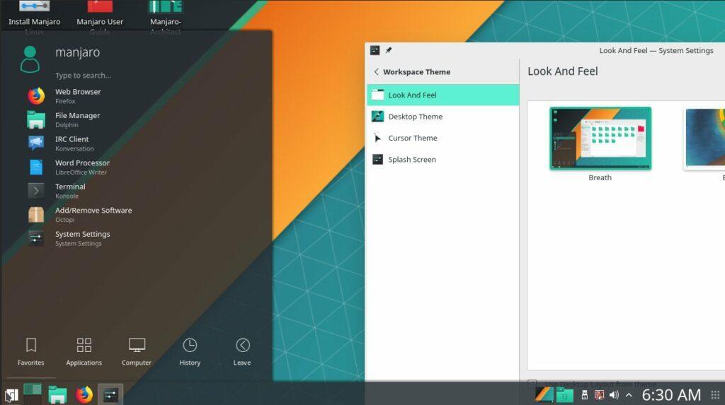 Manjaro KDE (KDE desktop environment)