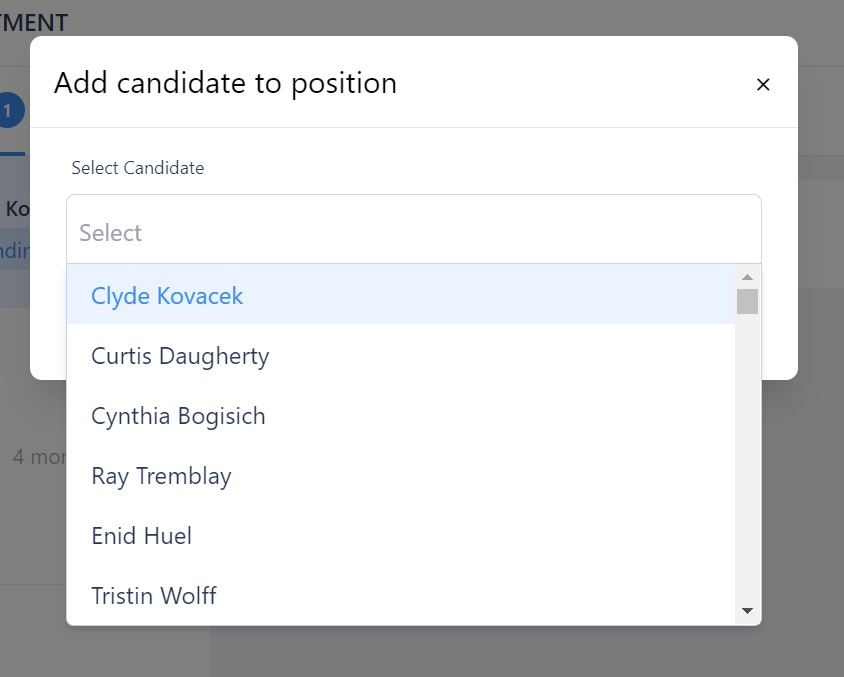 screenshot of the Martide website showing the candidate name drop down menu.