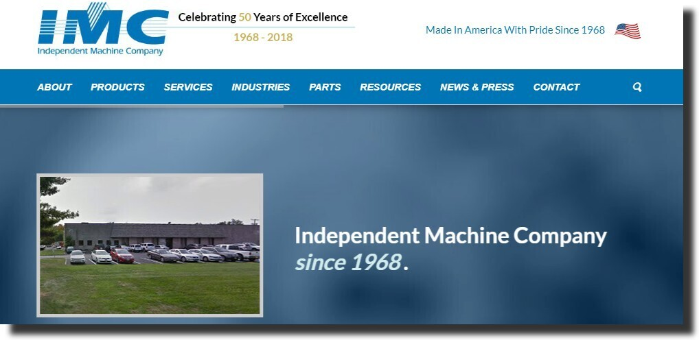 Independent Machine Company website. manufacturing website design