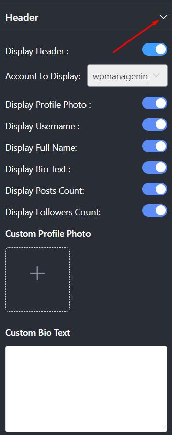 Instagram settings header section