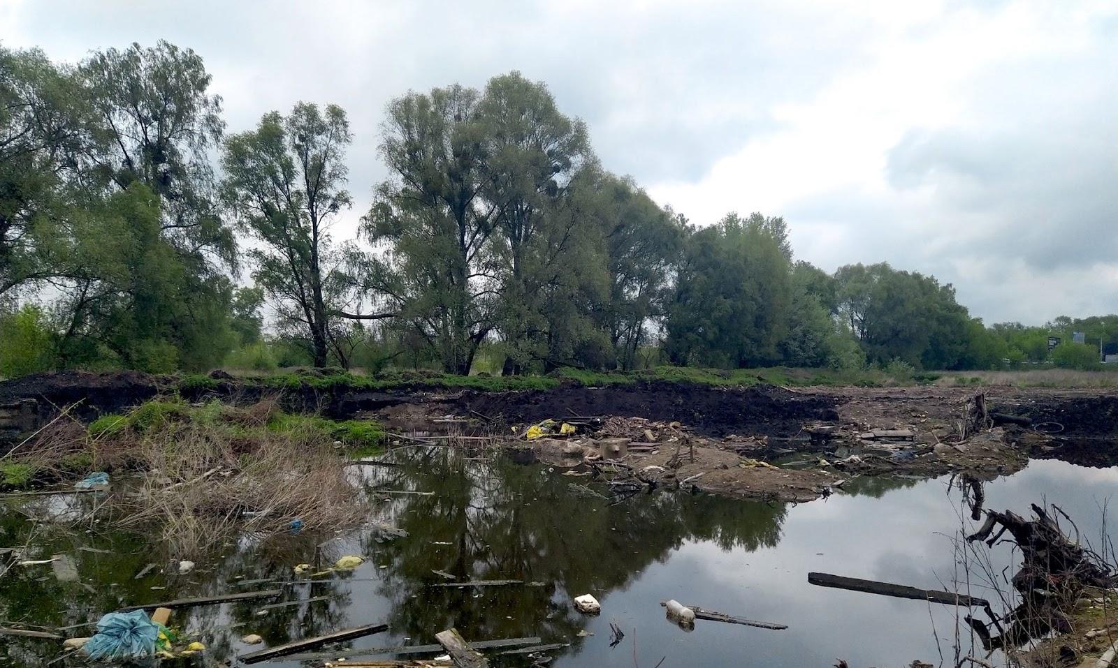 Місце стихійного видобутку торфу, що поступово перетворюється на звалище