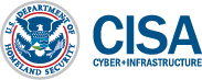 US Dept of Homeland Security Logo and blue letters that read CISA Cyber & Infrastructure