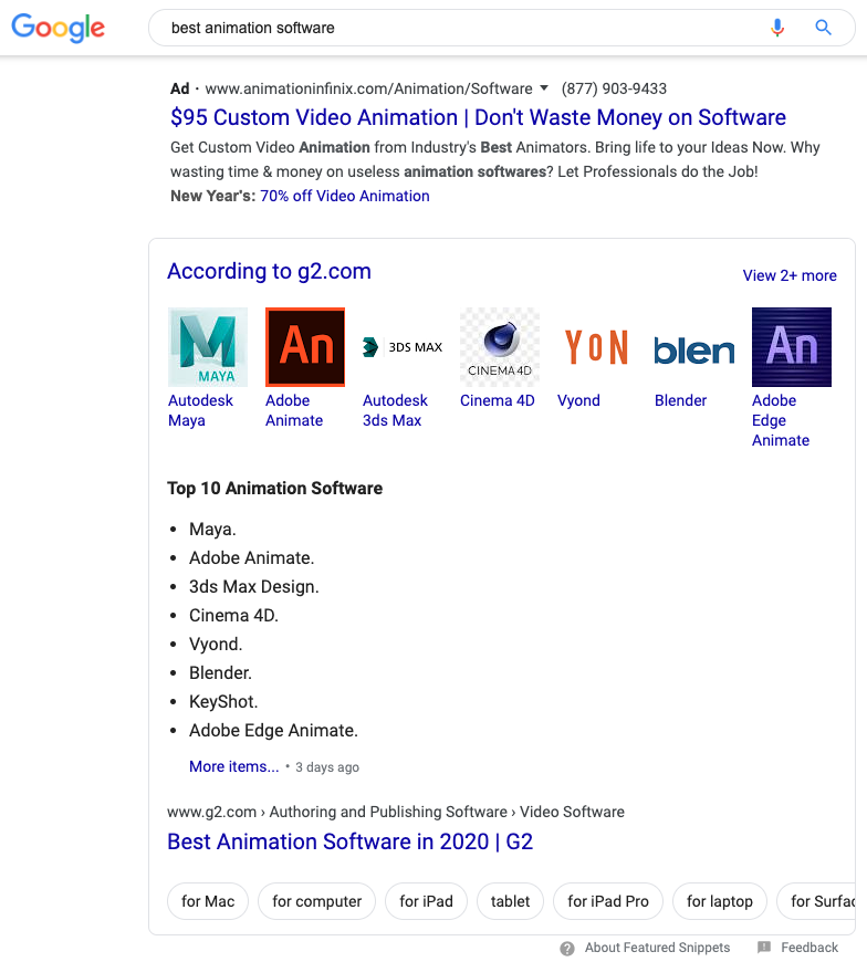 "Google desktop search results for ""best animation software"""
