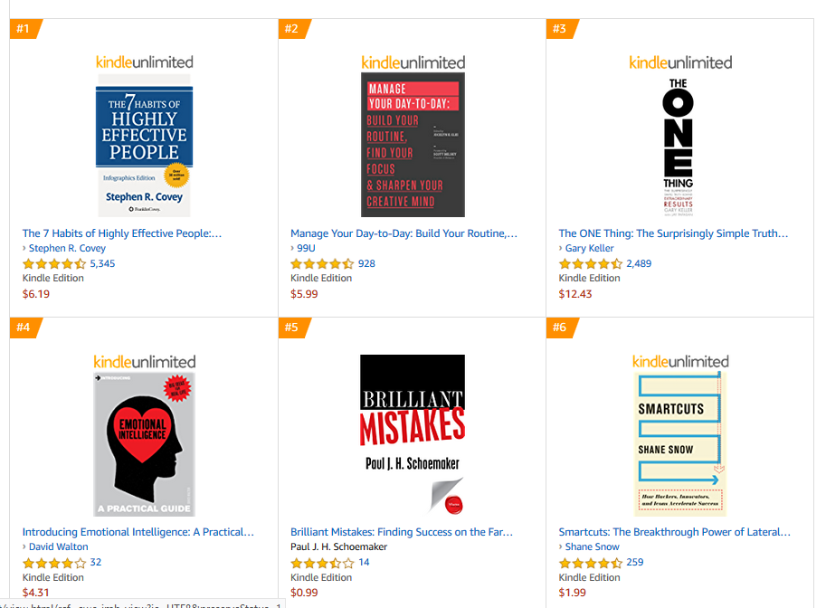 A screen capture shows 6 of the top-selling books on Amazon in the Business - Personal Success category. They all look much more simple and bold than the cover of The Secret Watch.