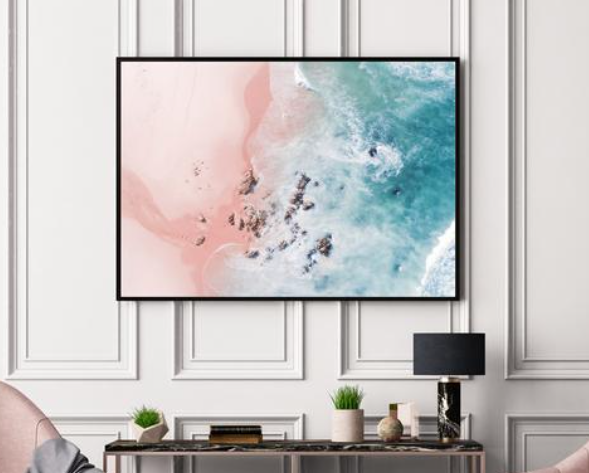 aerial beach print artwork for home office gift ideas in white office space above table and chairs