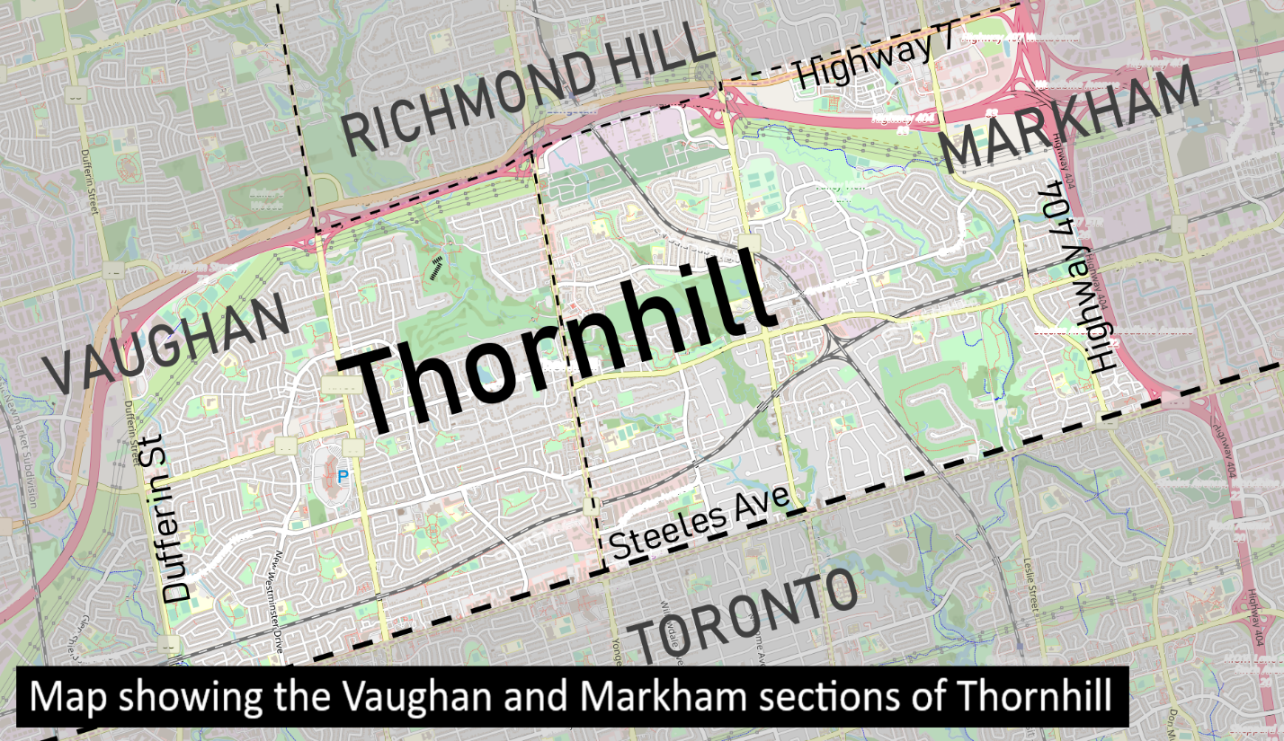 Map showing the Vaughan and Markham sections of Thornhill