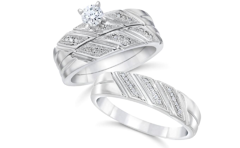 white gold diamond trio ring set