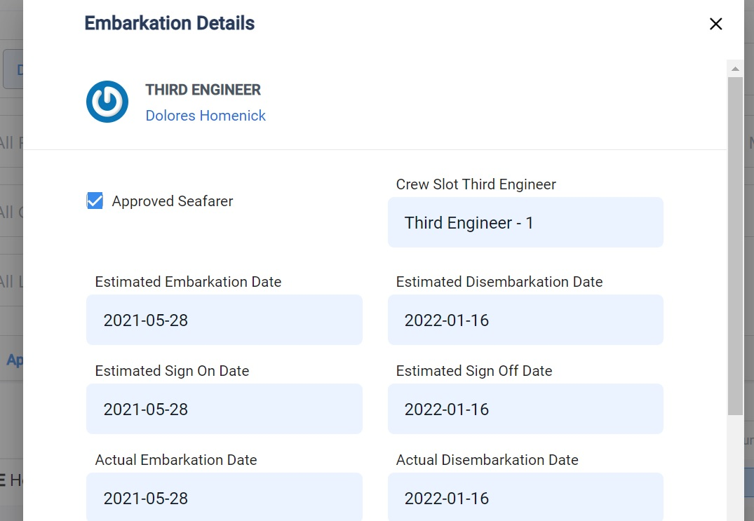 screenshot of the embarkation details pop up box