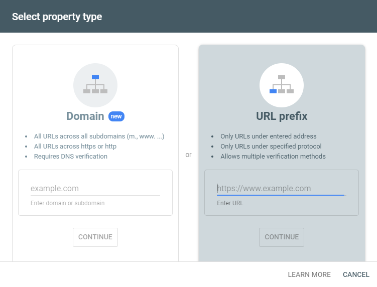 """""""Select Property Type"""" options on Add Property screen of Google Search Console"""