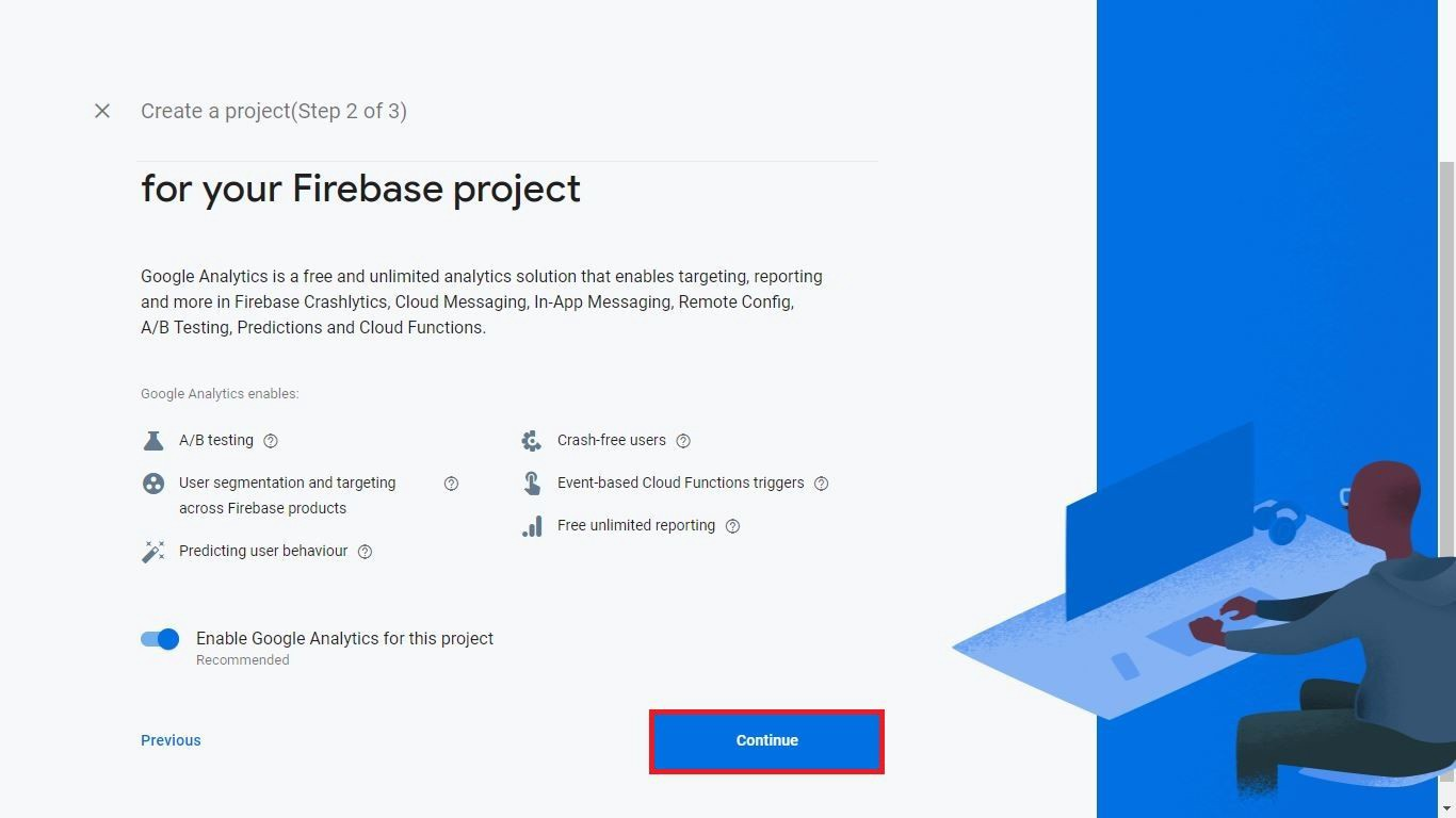 Enable Google Analytics for Firebase Console Data
