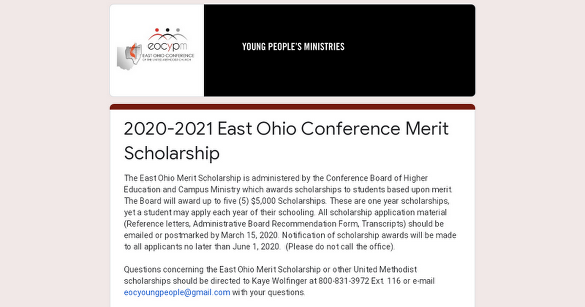 2019-2020 East Ohio Conference Merit Scholarship