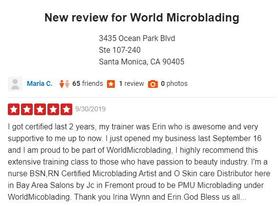 New Review for Worldmicroblading
