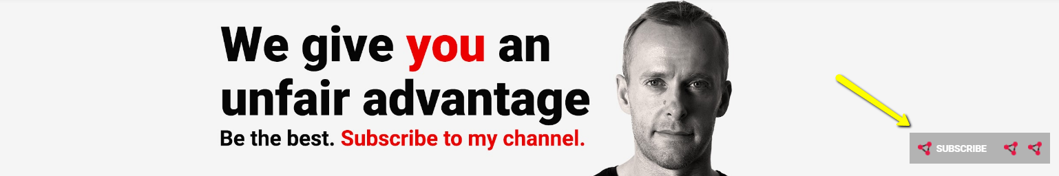 example of youtube channel banner with cta to subscribe.