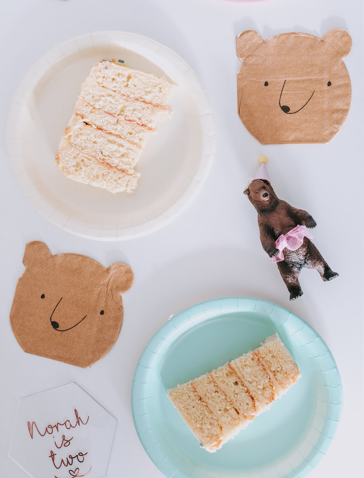 bear and rose gold themed birthday party Meri Meri bear napkins and pastel coloured plates bear cake topper