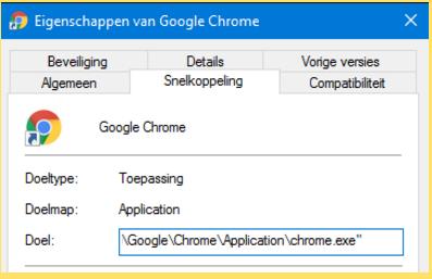 Doel van de bureaubladsnelkoppeling van Google Chrome
