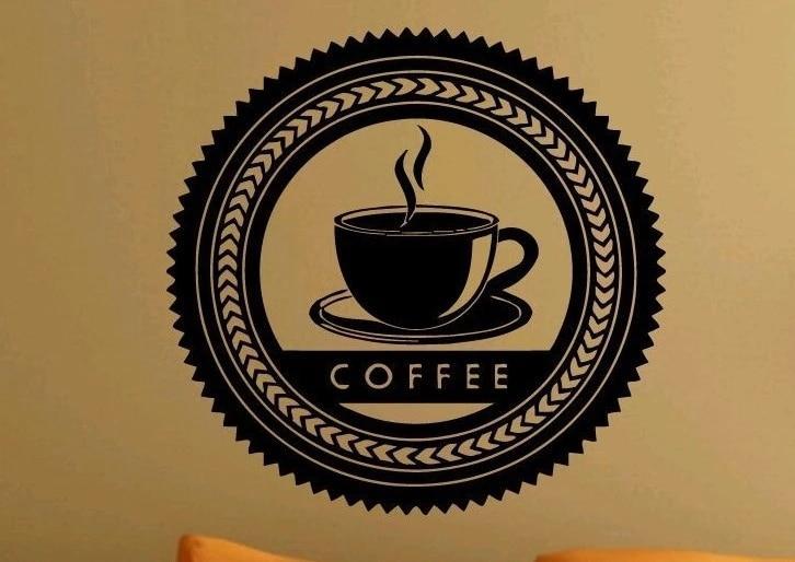 quán cà phê tường vinyl decal nghệ thuật dấu ly cà phê cà phê tem logo bức  tranh tường nghệ thuật nhãn dán tường quán cà phê cửa sổ kính trang  trí|glass