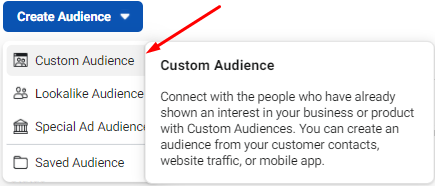 An example of how to create a custom audience