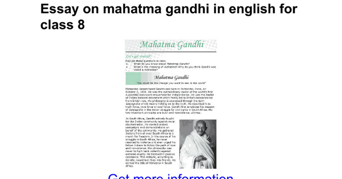 essay on mahatma gandhi in english for class google docs
