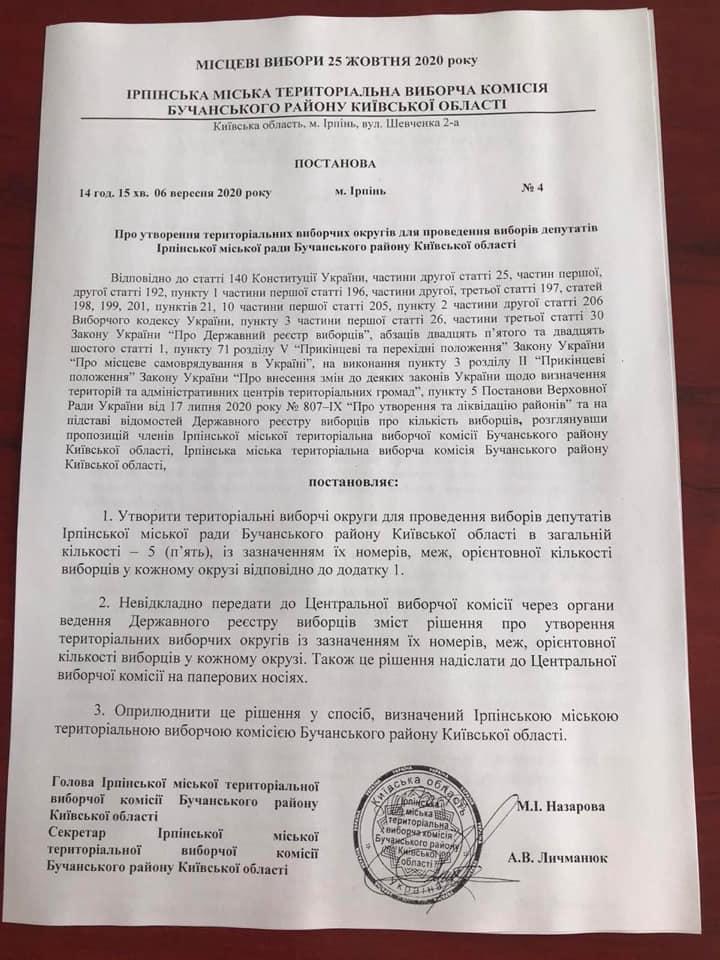 В Ірпені затвердили перелік виборчих округів. СПИСОК