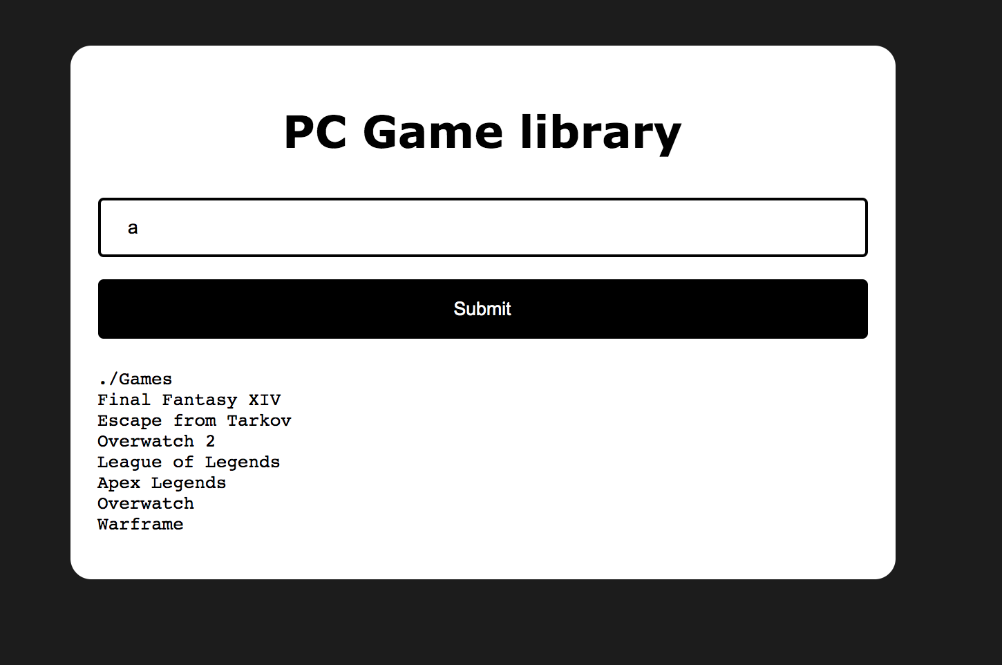 Screenshot of PC Game library website with submission field.