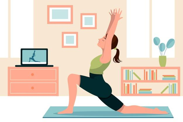 Hand drawn woman doing yoga illustration Free Vector