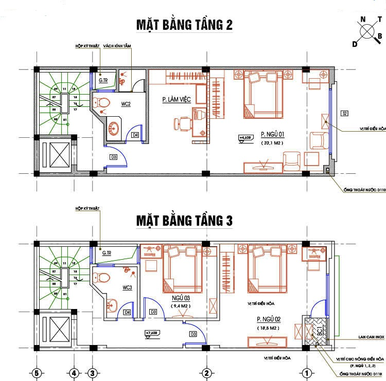 3 mẫu thiết kế nhà 4x13m có thang máy