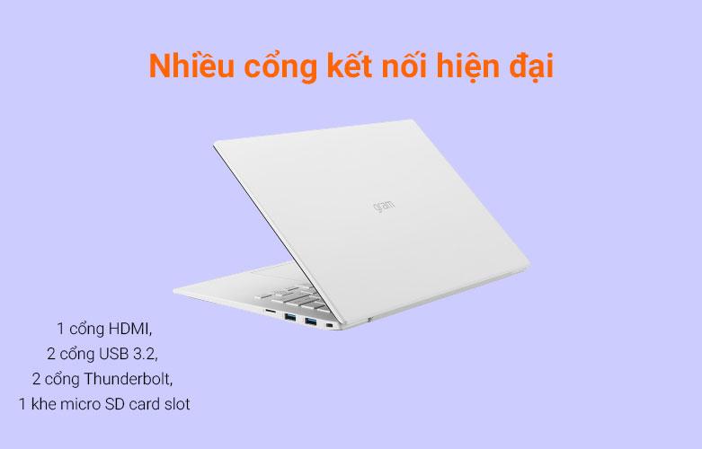 Laptop LG Gram 2021 14ZD90P-G.AX51A5 (i5-1135G7) (Trắng) | Cổng kết nối hiện đại