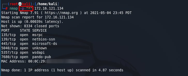 [NMAP Scan Any Port]: Scan All Ports example. Source: nudesystems.com