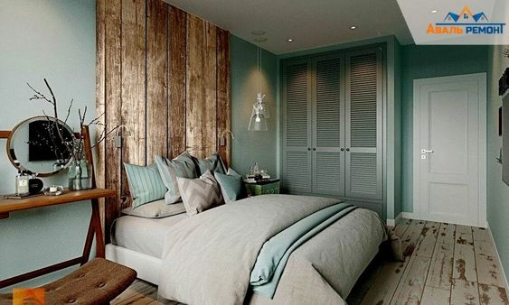 Mix Some Wood Interiors in Your Teal Bedroom