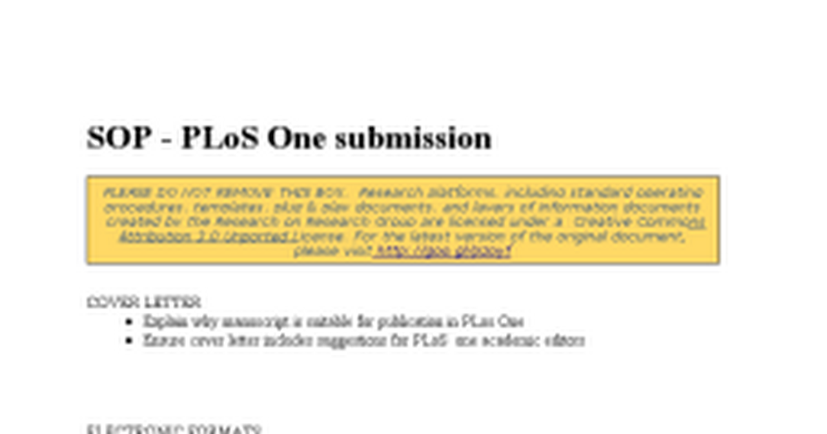Plos One Cover Letter Sample