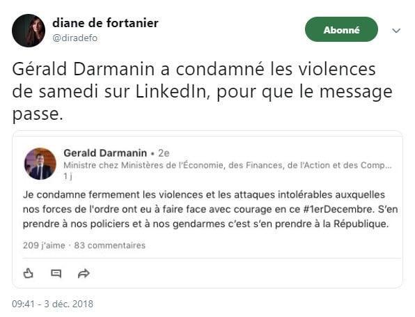 Gérald Darmanin - LinkedIn - Gilest jaunes