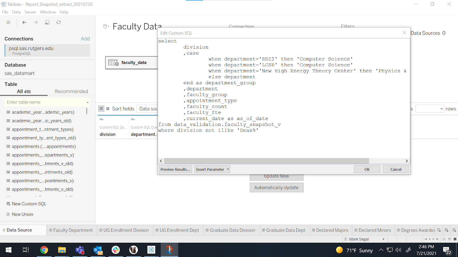 Custom SQL option is selected in this screenshot