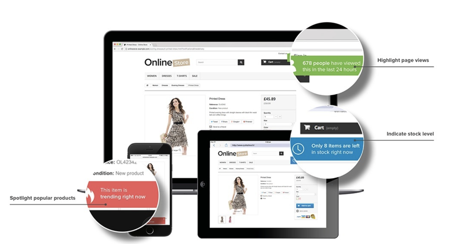 Spotlight the popularity of products with social proofs like 'how many people viewed this product', 'this item is trending', and 'customer reviews'